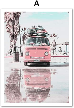 LiMengQi Rosa Van Pickup Playa Tabla de Surf mar Cita Arte ...