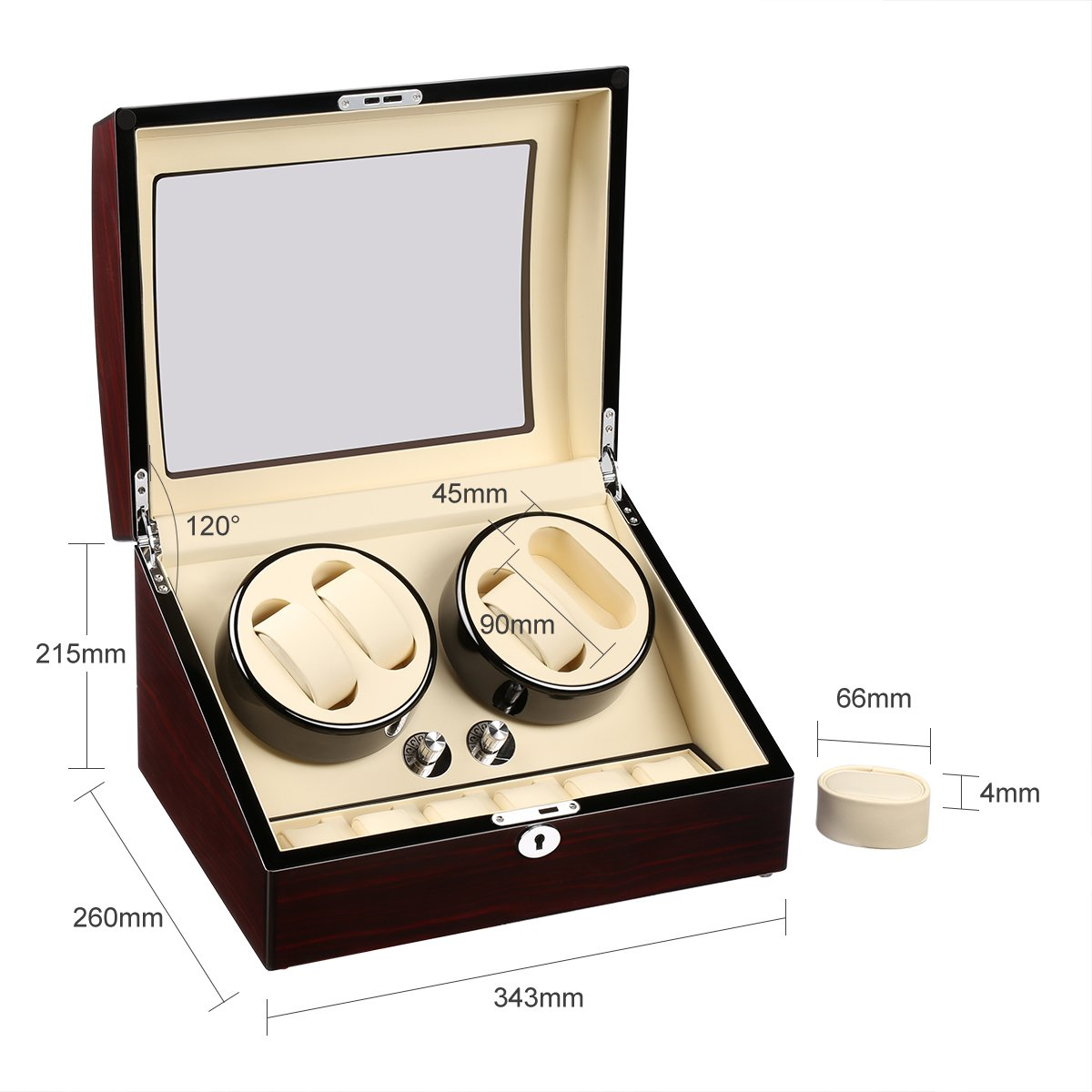 CRITIRON 4+6 Automatic Watch Winder Luxury Storage Case Rotating Display Box, Wood Shell with Piano Paint (Brown+White) by CRITIRON (Image #7)