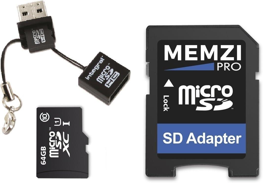 MEMZI PRO - Tarjeta de memoria micro SDXC de 64 GB clase 10 90 MB/s con adaptador SD y lector micro USB para Huawei MediaPad M5, M3, M2, T3 Series Tablet PC