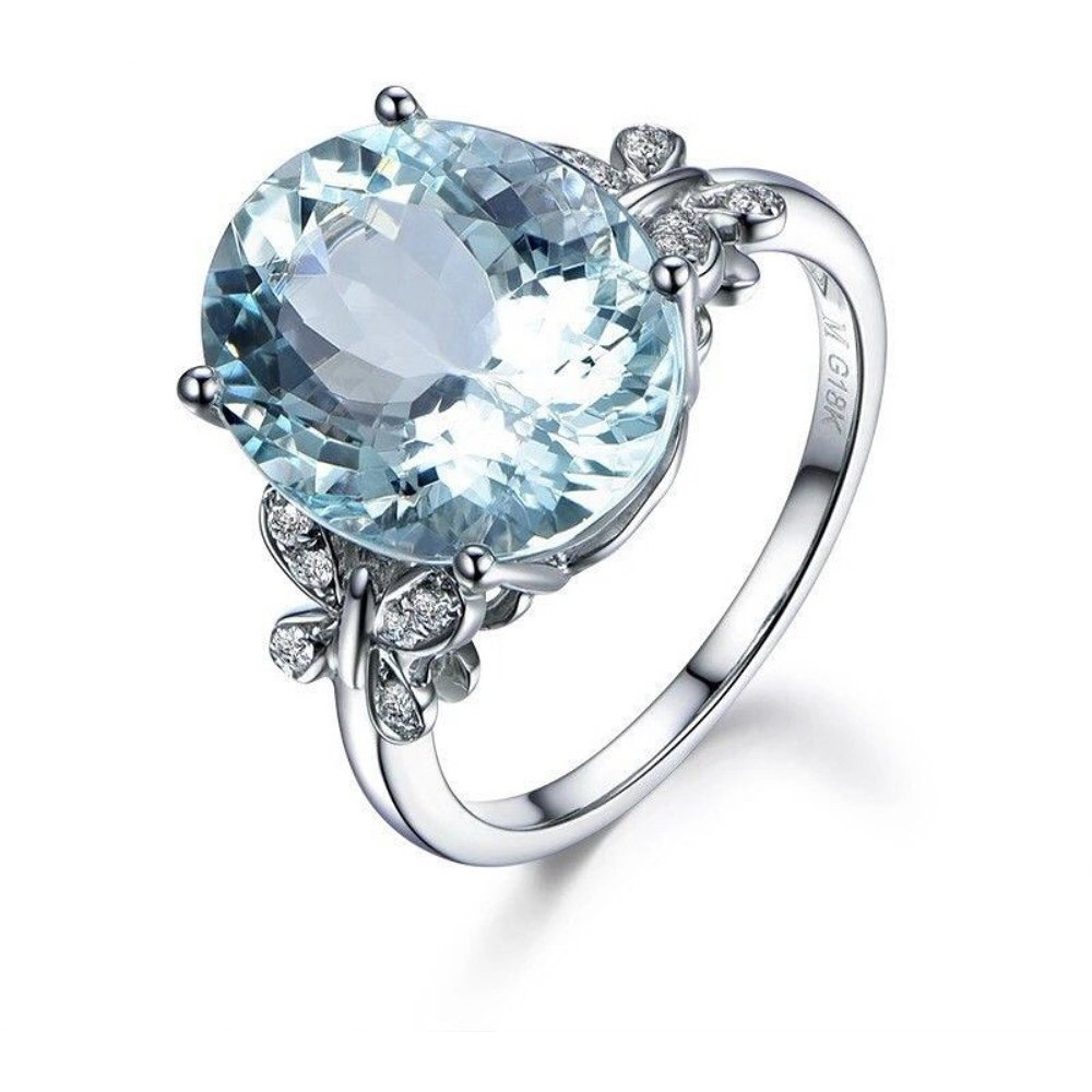 A.Yupha Stunning 4 CT Aquamarine Ring in Sterling Silver Vintage 925 Elegant Size 6-10 (10)