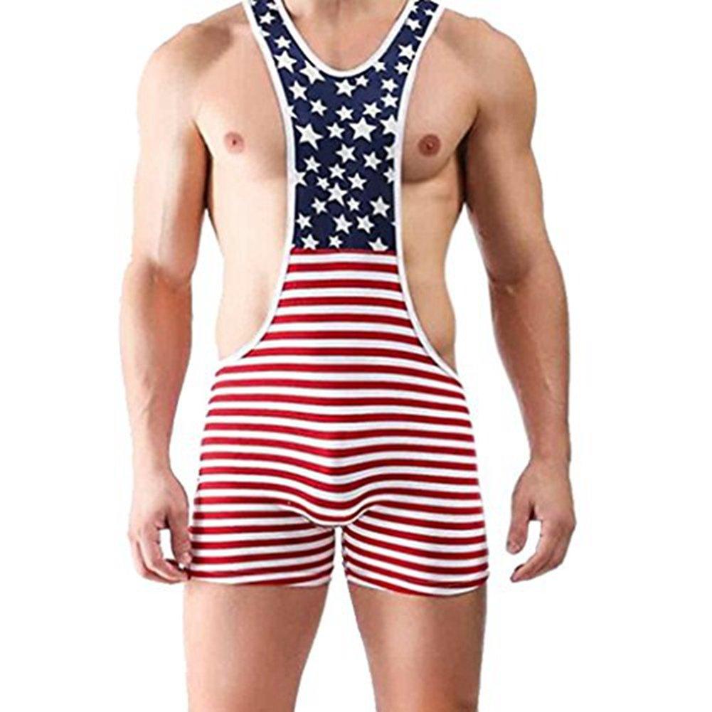 IGIG Men's One Piece Bodysuit Boxer Briefs Suspenders Singlet Sport Underwear X-Large