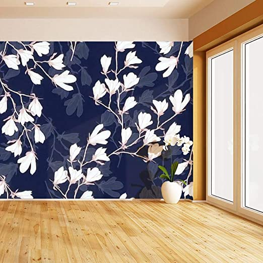 Amazon Com Himural Magnolia Flower Seamless With White Flowers On A Navy Blue Self Adhesive Peel And Stick Wallpaper Self Stick Mural Photos Home Wall Paper Sticker Wall Mural Decals Fresco Posters Removable