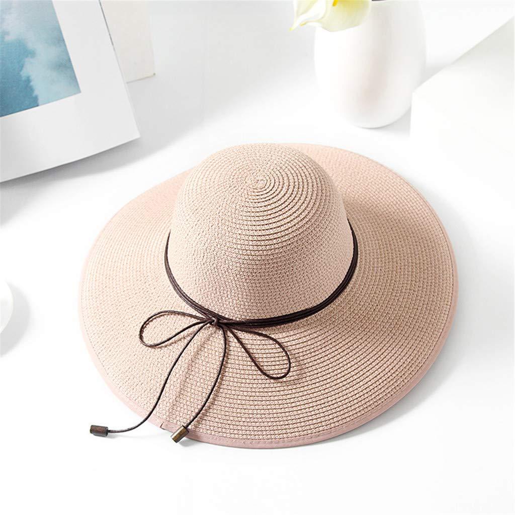 36aadb8a0e6e2 Yucode Women Colorful Big Brim Straw Bow Hat Sun Floppy Wide Brim Hats  Beach Cap Beige at Amazon Women's Clothing store: