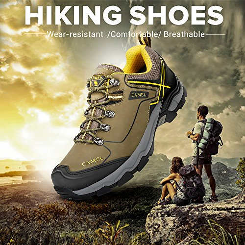 pre order cheap price free shipping original Camel Lightweight Hiking Shoes for Men Shockproof Non-Slip Outdoor Breathable Low Snow Leather Hiking Walking Shoes Army Green zwpYep