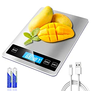 Digital Food Scale, REEXBON Kitchen Scales USB Rechargeable Food Scales Weight oz and Grams Scale for Baking Cooking,33lb/15kg,1g/0.1oz 5 Units Tare Function Auto Off Stainless Steel Tempered Glass