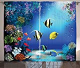 Curtains with Fish on Them Ambesonne Underwater Curtains, Tropical Undersea with Colorful Fishes Swimming in The Ocean Coral Reefs Artsy Image, Living Room Bedroom Window Drapes 2 Panel Set, 108 W X 63 L inches, Blue