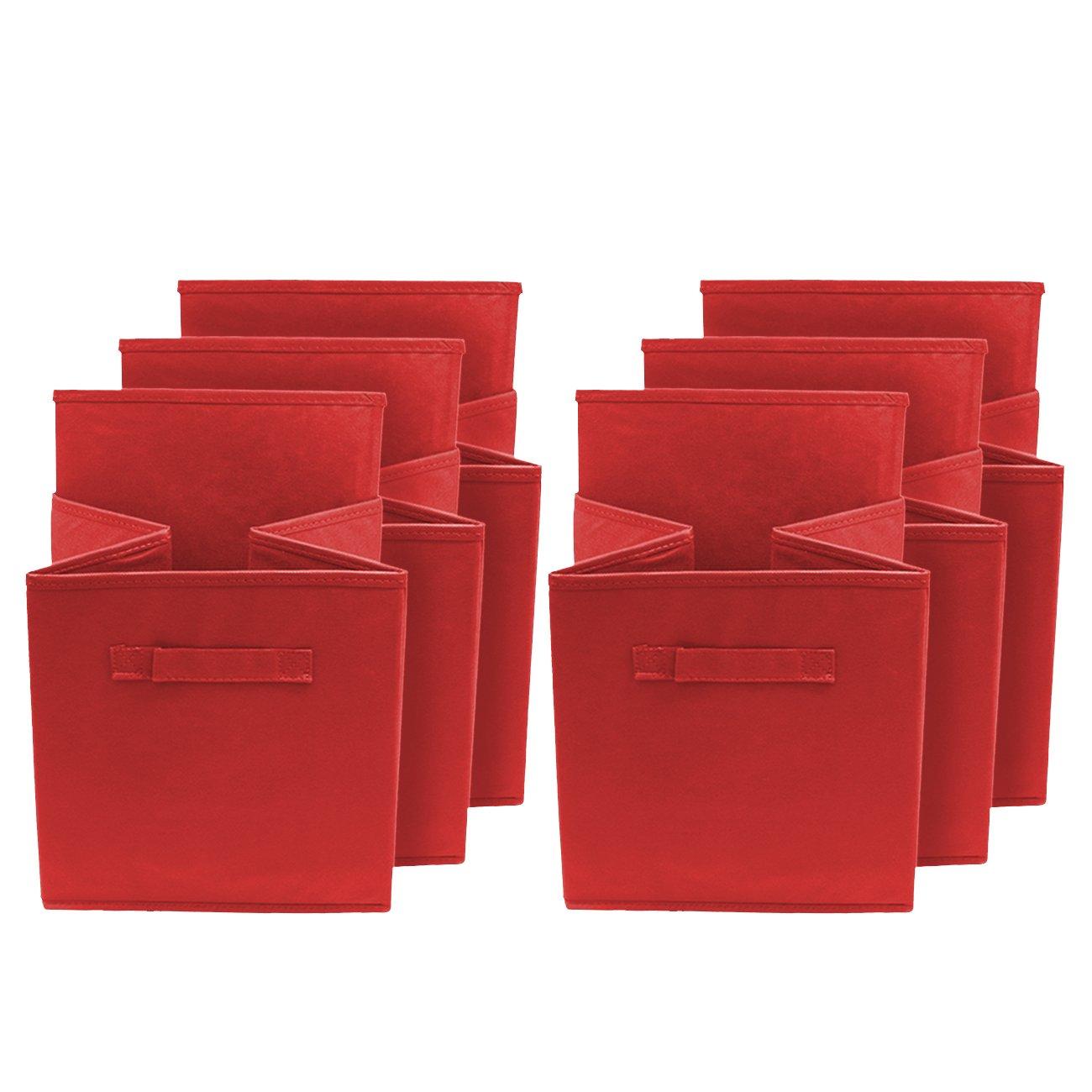 Sorbus/® Foldable Storage Cube Basket Bin 6 Pack, Red