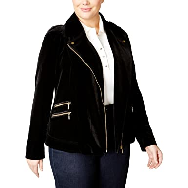 e286ac8bc4d INC International Concepts Plus Size Velvet Moto Jacket - Black ...