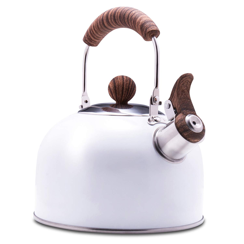 ROCKURWOK Tea Kettle, Stovetop Whistling Teapot, Stainless Steel, Ceramic White, 2.43-Quart