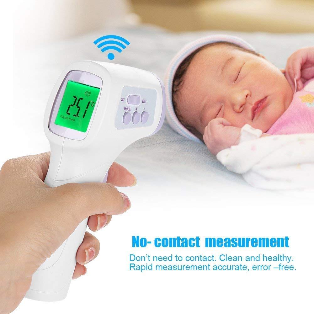 Termometro frontale infrarossi senza contatto con display LCD retroilluminazione digitale IR temperatura istantanea