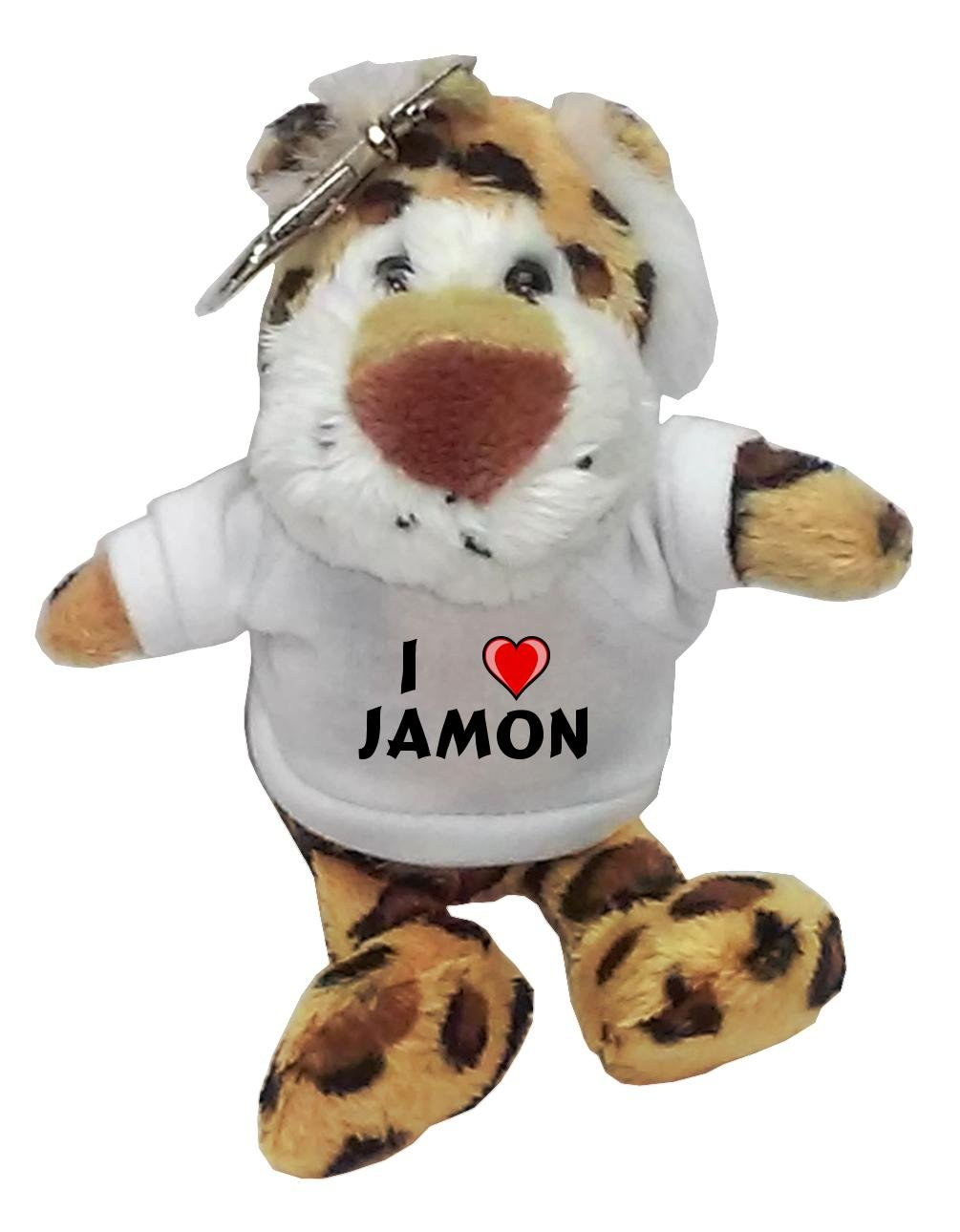 Leopardo de peluche (llavero) con Amo Jamon en la camiseta ...