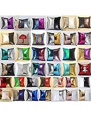 HOMS Funda Cojín con Lentejuelas Doble Color Decorativos Cierre