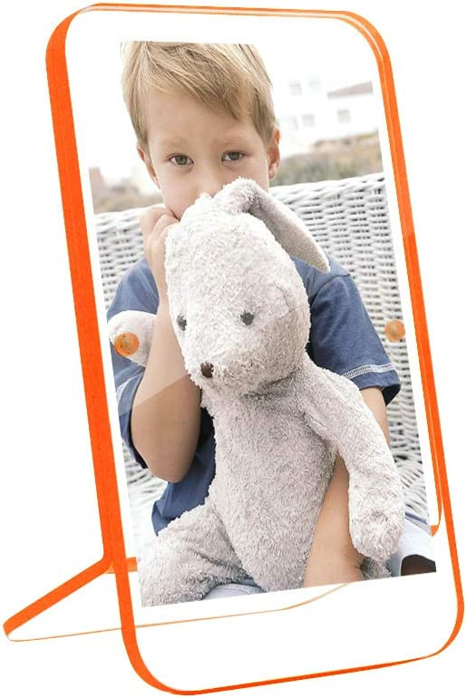 """*2-SET* WOODEN PICTURE FRAMES Photo Tabletop Hanging Orange 4/""""x6/"""" Child Baby NEW"""