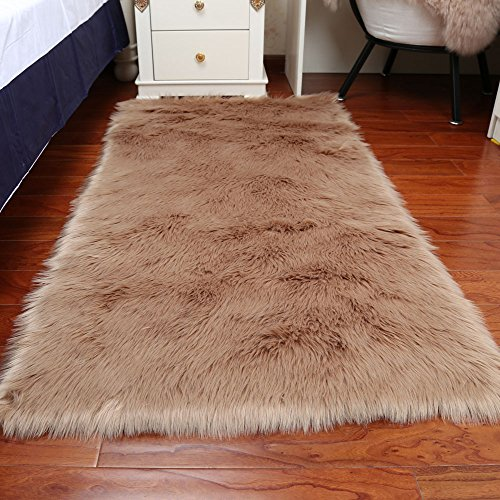 Rectangle Faux Fur Sheepskin Area Rug Baby Bedroom Fluff Floor Sofa Rugs Home Decorative Shaggy Carpet by Fashion Suit
