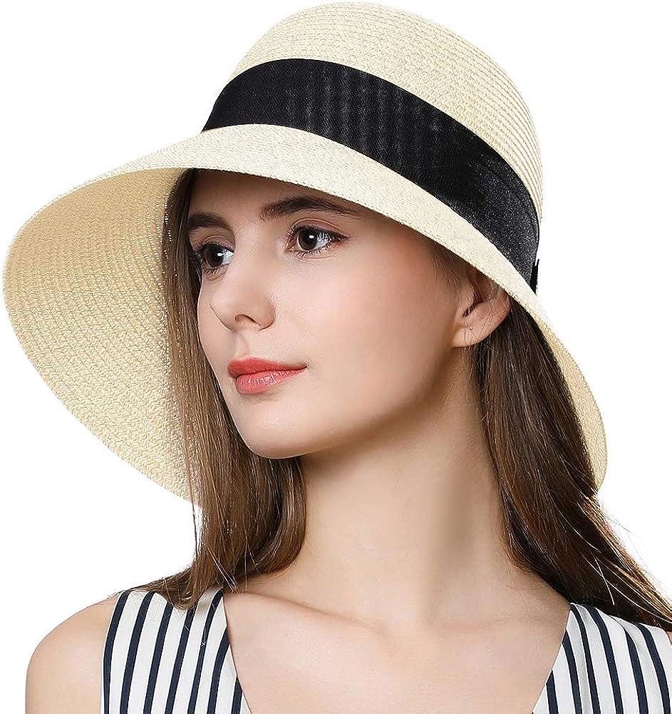 Fancet Removable Protective Hat UPF50 Summer Sun Hat for Women Beach Wide Brim Straw Fedora Floppy Panama String
