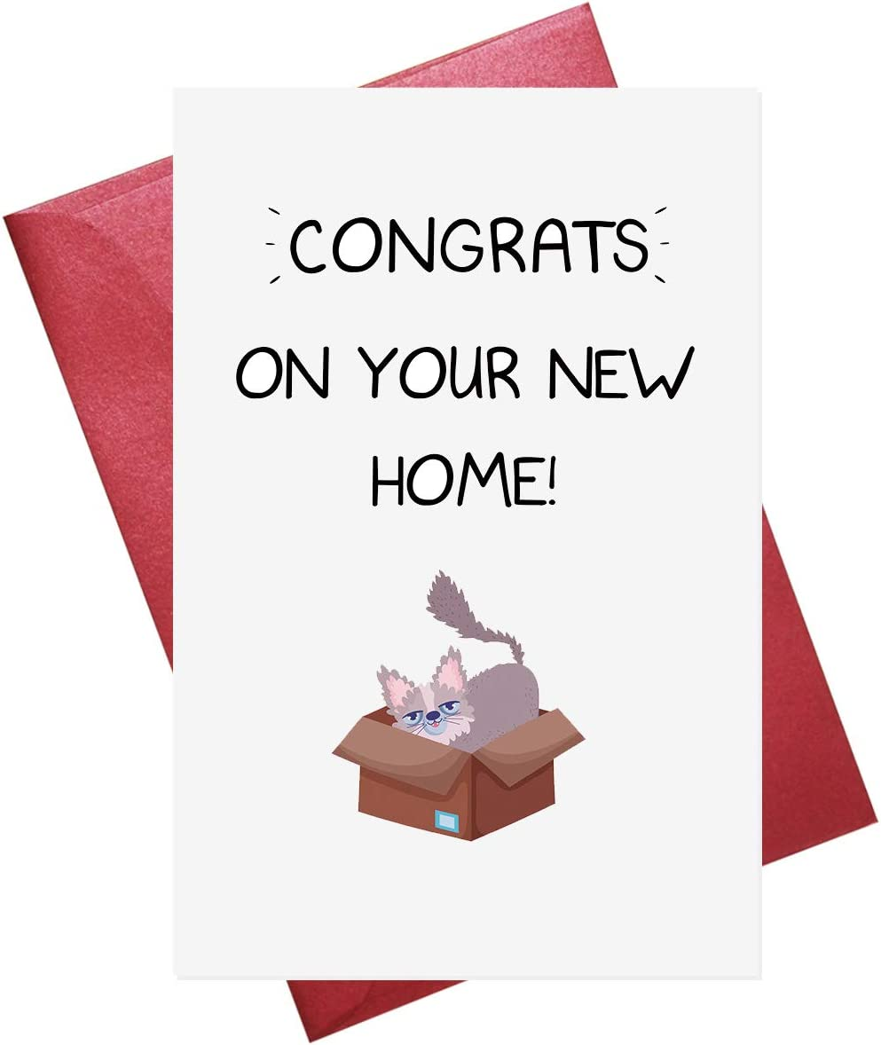 Funny New Home Card, Cat New Home Card, New Home Card for Cat Lover, Congrats on Your New Home (5.3'' x 8'' folded)