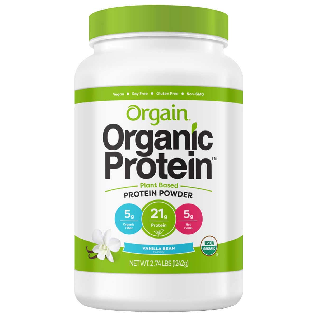 Orgain Organic Plant Based Protein Powder, Vegan, Gluten Free, Kosher, Non-GMO, Packaging May Vary (2.74 lb, Vanilla Bean)