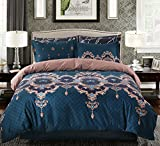 "Bohemian Duvet Cover Set Boho Luxury Bedding Blue/Brown Floral Pattern Reversible Queen-(90""x90"")-3 Pieces-(1 Duvet Cover + 2 Pillowcases)-120 gsm Soft Microfiber Bedding Set by Moreover"