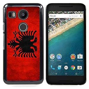 "Qstar Arte & diseño plástico duro Fundas Cover Cubre Hard Case Cover para LG GOOGLE NEXUS 5X H790 (Bandera nacional de la Serie-Albania"")"