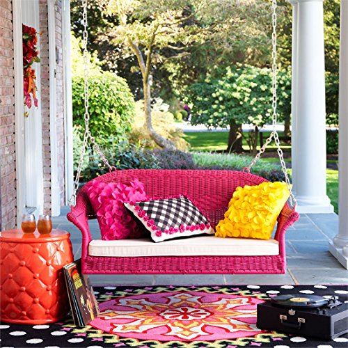 Wicker Porch Swing (Brylanehome Roma Resin Wicker Porch Swing (Pink,0))