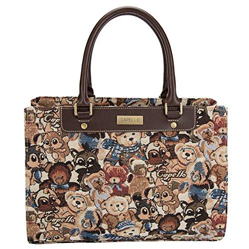 Capello Womens Tote Shoulder Bag Fashion Top Handle Handbag (brown) 15029