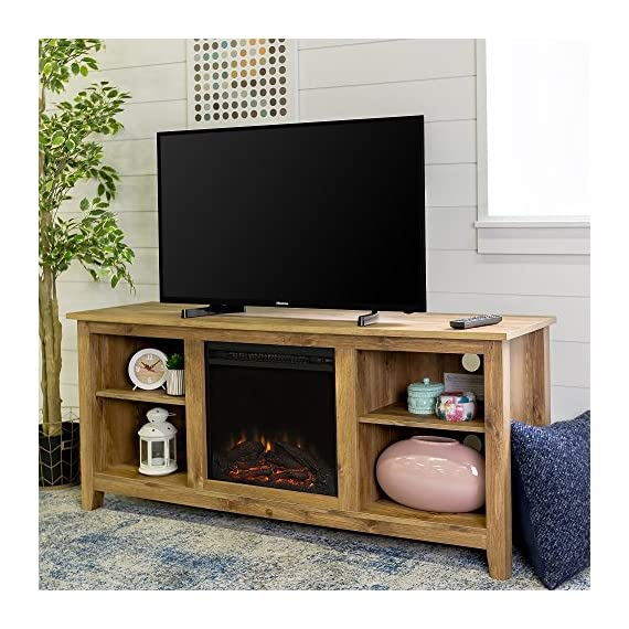 New 58 Inch Wide Honey Colored Television Stand with Fireplace Insert - Item ships within 1 business day! Any order that is received before 12:00 noon MST will ship out same business day!! Includes electric fireplace insert, No electrician required, simple plug-in unit Dimensions of each side component space is 15 inches wide by 13.5 inches deep, with an adjustable/omittable shelf - tv-stands, living-room-furniture, living-room - 61cgF0R7gPL. SS570  -