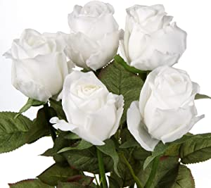 5Pcs White Rose Real Feel Flower Fake Rose Bud Long Stem Use in Floral Arrangements, Bouquets, Crafts, Wedding, Home Decor-Rose Bouquet White Flower