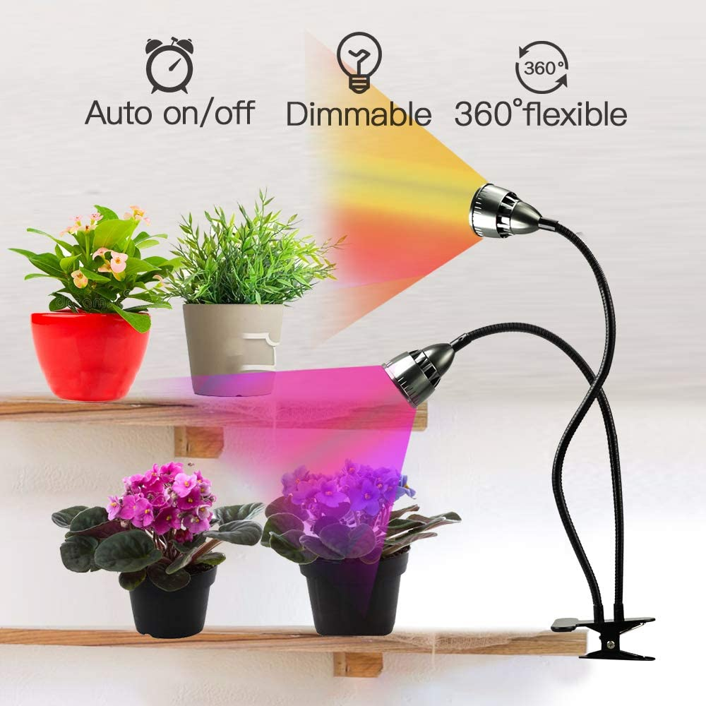 LED Grow Light for Indoor Plants,Full Spectrum Dual Head Desk Clip Plant Light for Seedling Blooming,Adjustable Gooseneck & Timer Setting 3H/9H/12H