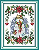 YEESAM ART® New Cross Stitch Kits Advanced Patterns for Beginners Kids Adults - New Year Snowman 11 CT Stamped 27x37 cm - DIY Needlework Wedding Christmas Gifts