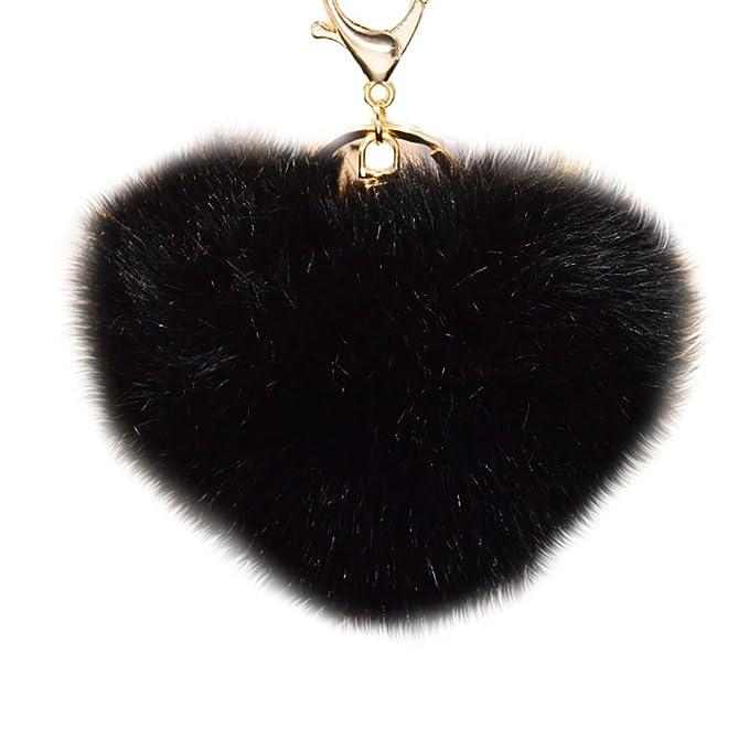 Amazon.com: youngate Mini forma de corazón Fluffy Fur Bola ...