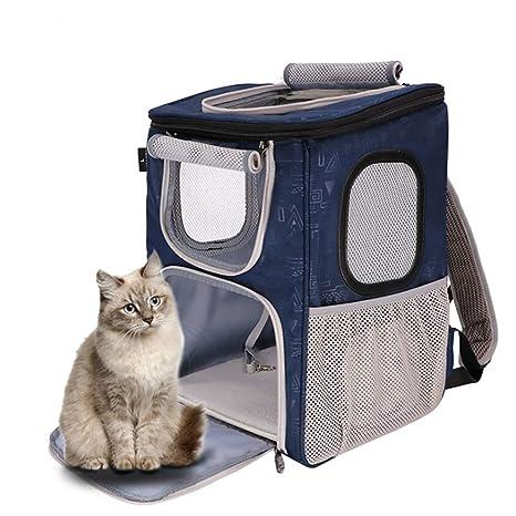 Febelle Transportín Mochila con Techo Solar Bolso portátil de Mascota Perro Gato Transpirable Plegable para Viaje Turismo Camping Tren avión
