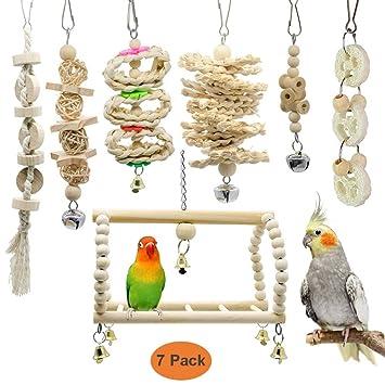 GingerUP 7 Unidades Juguetes para Pájaros Colorful Columpio para ...