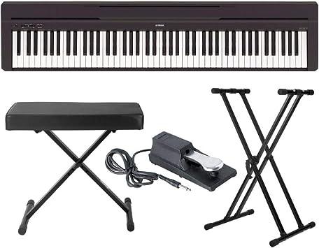 Yamaha P45B Piano digital de 88 teclas con soporte de teclado Knox Gear y banco ajustable y pedal de sostenimiento