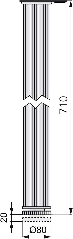 EMUCA 3112462 80 x 710 mm en aluminio anodizado mate Pata de mesa regulable Emuca D