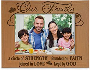 Our Family - A circle of Strength, founded on Faith, joined in Love, kept by God Engraved Natural Wood Picture Frame, Family Gifts, Housewarming, Religious & Spiritual, Wedding gifts (4x6-Horizontal)