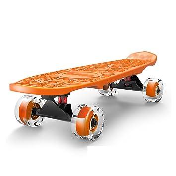 Patinete- Scooter de 4 Ruedas Monopatín Niño Principiante para niños/niñas/niños con Rueda de PU Parpadeante (Color : Orange): Amazon.es: Hogar