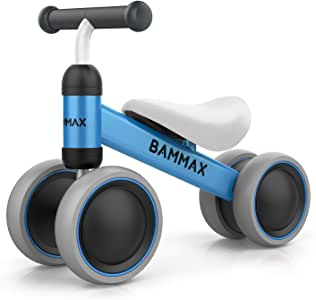 Bammax Baby Balance Bike, Baby Bike for 1 Year Old Baby Walker Toddler Bike Kids Bicycle Ride Toys for 9 Months - 24 Months Boys Girls No Pedal 4 Wheels Baby First Birthday Gift Bike
