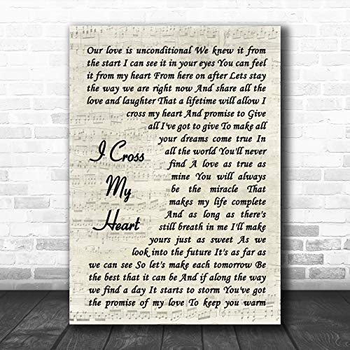 I Cross My Heart Vintage Script Song Lyric Quote - Wall Heart Cross