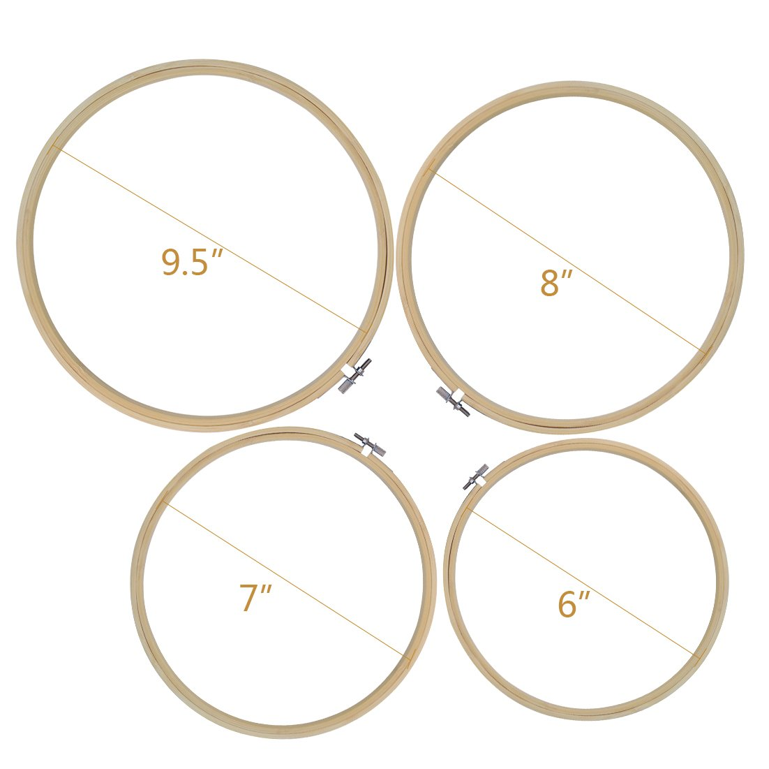"7/"" 8/"" 9.5/"",Embroidery Starter Kit Hoops Cross Stitch Hoop Embroidery Circle Set 4 PCS 4 Sizes Embroidery Cross Stitch Hoop Ring in Inner Diameter of 6/"" Pistha Embroidery Bamboo Circle"