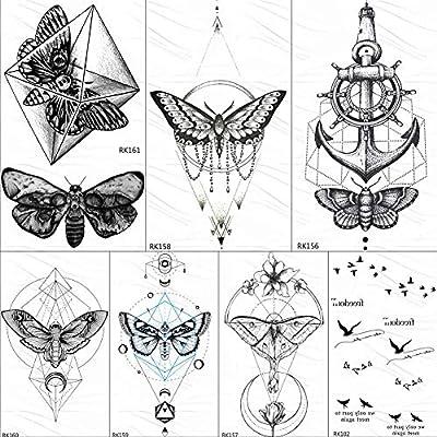 KAMRL Tatuaje Falso Tatuaje Mariposa Geométrica Colgante De La ...