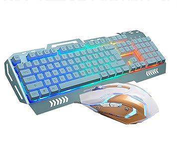 PowerLead Ergonómica Multimedia 7 arco iris de colores con retroiluminación LED inteligente Teclado de juegos con cable con ratón: Amazon.es: Electrónica