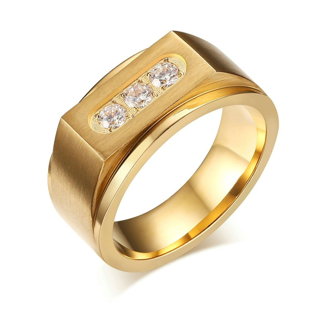 Free Engraving KnSam Men Stainless Steel Bands Gold Channel Setting Crystal Size 10 [Novelty Ring]