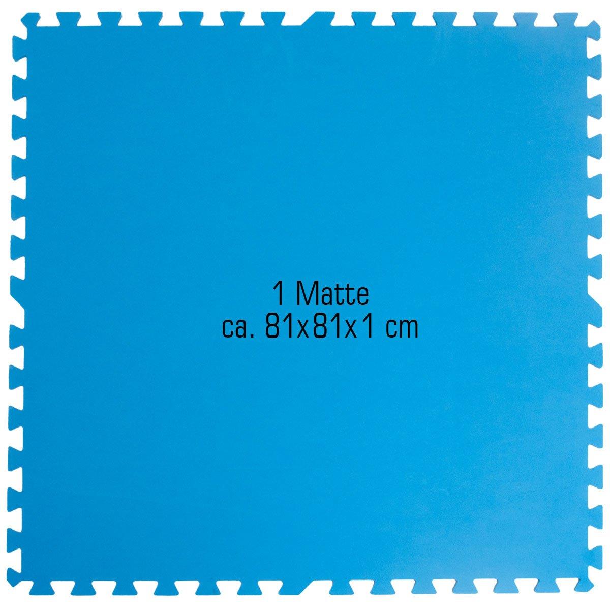 Eyepower Alfombra Puzle de Goma EVA para Cubrir Proteger Fondo Borde Piscina Ducha | 1cm de Espesor Suave Antideslizante Set 4pcs 2, 6qm Extensible | Azul: ...