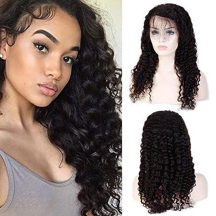 Lucas peluca cabello humano ondulado Remy Vergini brasiliani Lace Front Wig Deep Wave apelli humano peluca