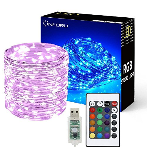 Onforu 33ft RGB Fairy Lights, 16 Colors Changing Outdoor String Lights, 100 LED Starry Lights with Remote & Timer, USB Powered IP65 Waterproof Copper Wire Lights for Bedroom, Parties, Christmas Decor