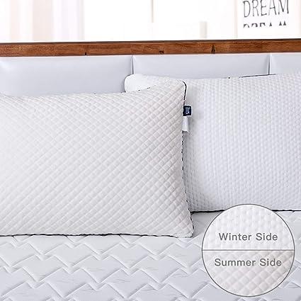 BedStory Pack de 2 Almohadas y Funda Desmontable con Cierre de ...