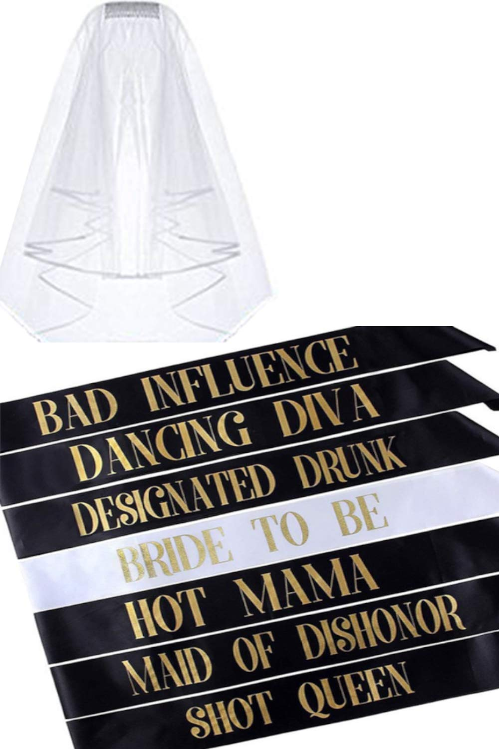 Girl Force Bachelorette Party Pack - 7 Fun Sashes & 1 Veil