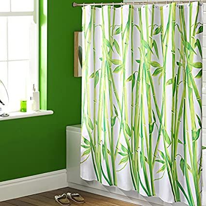 Bamboo Waterproof Fabric Shower Curtain Liner Set With 12pcs Free White Hooks