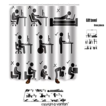 Vanfan Bath Sets With Polyester Rugs And Shower Curtain IA Set Of Human Pictogram Representing The