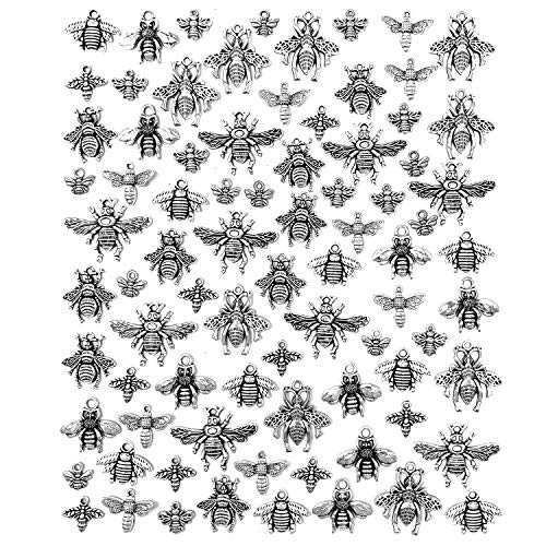 81PCS Alloy Bee Honeybee Charms - JIALEEY Antique Tibetan Silver Bee Charms Pendants DIY for Necklace Bracelet Earrings Jewelry Making Crafting